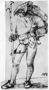 """Hans Leonhard Schäufelein: """"Landsknecht"""", 1507"""
